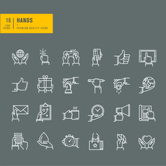 Set of thin line web icons of hand using a variety of products