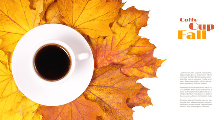 Coffee Autumn background. Isolated on White Cup of coffee on fallen leaves. Top View