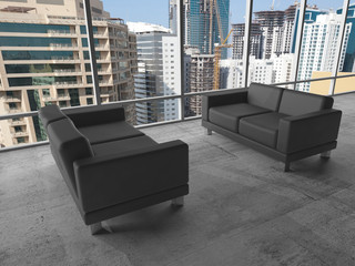 Two black sofas, 3d illustration with cityscape