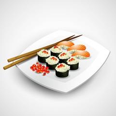 Sushi plate. Vector illustration