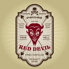 Vintage Retro Red Devil Label