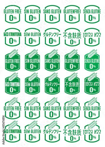 Multi Language Gluten Free Icon Set