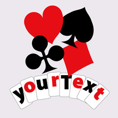 Playing card suits composition. Design for logo, t-shirt, ads etc. Elements can be used separately.