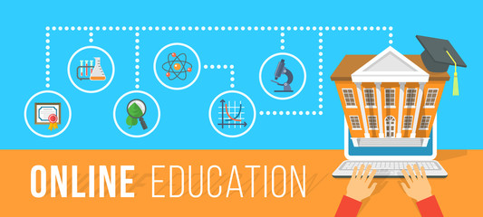 Modern flat vector conceptual horizontal illustration of online education using computer. Internet courses and e-learning training by laptop. Infographics element with human hands and school icons