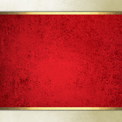 formal elegant light red paper background with red center and beige border and gold ribbon or stripe layers, has vintage distressed texture