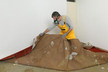 Home renovation, old carpet remove