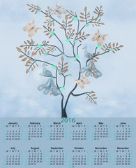 Illustration calendar for 2016 in retro colors with birds and tr