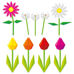 Set Of Low Poly Style Flowers Isolated