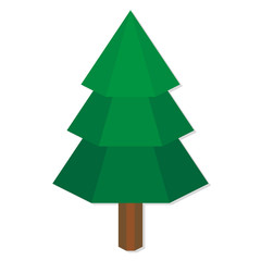 Low Poly Style Green Pine Isolated
