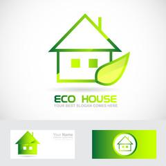 Eco real estate house green leaf logo