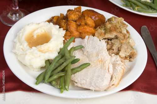 Turkey Dinner u2013 A plate of turkey green beans mashed potatoes and gravy & Turkey Dinner u2013 A plate of turkey green beans mashed potatoes and ...