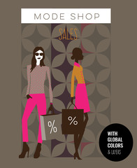 Two fashion models with shopping bags in a store sale. Vector illustration Eps10 file. Global colors and layers.