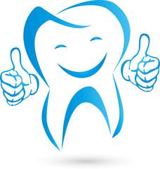 Zahn mit Händen, Logo, Zahn, Lachen