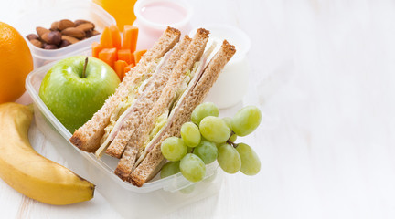 school lunch with sandwiches and fruit on white background