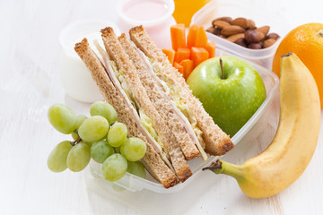 school lunch with sandwiches and fruit, close-up