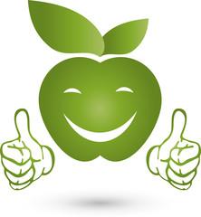 Apfel mit Händen, Logo, Apfel, Lächeln