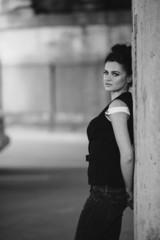 girl posing near the wall