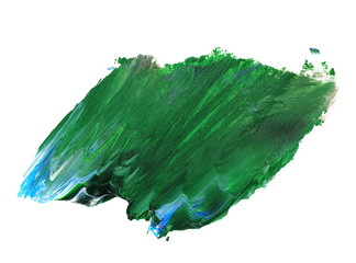photo stain, green blue grunge brush strokes oil paint isolated on white background