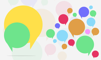 Flat Speech Bubble Icon Gray Background