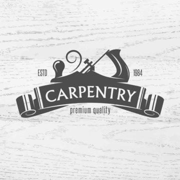 Carpenter design element in vintage style.