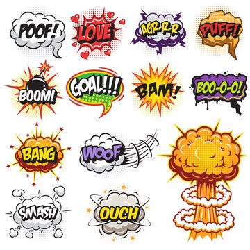 Set of comics speach and explosion bubbles