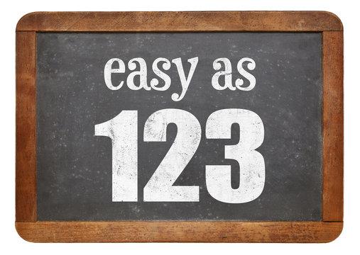Easy as 123 blackboard sign
