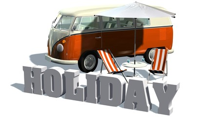 Holiday - deckchairs and samba minibus on a white background