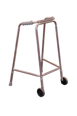 A Stainless Steel Assistance Wheeled Walking Frame.