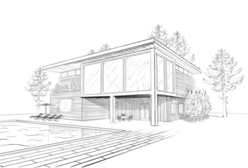 Vector sketch of modern house with swimming pool