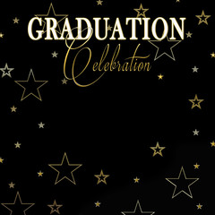Graduation Celebration black background with white and gold text surrounded by graphic gold stars.