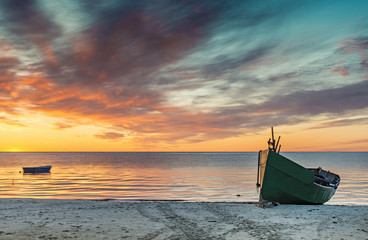 Colorful sunrise at village of fishermen, Baltic Sea, Latvia