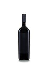 Weinflasche mit freiem Etikett vor weißem Hintergrunf