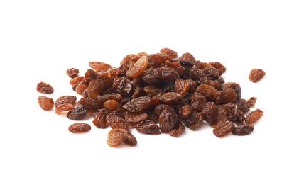 Pile of multiple raisins isolated