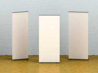 White blank banner on wooden floor