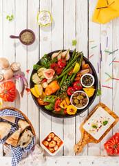 Platter of Grilled Vegetables on Picnic Table