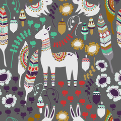 A fun woodland pattern with deer, feathers, rabbits, mushrooms, acorns, flowers, and botanical elements. The animals and other elements have intricate tribal designs to give a bohemian feel.
