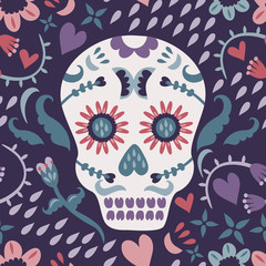 A Day of the Dead seamless pattern with a sugar skull.