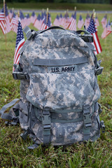 Military backpack and american flags