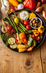 Colorful Grilled Vegetables on Cast Iron Pan