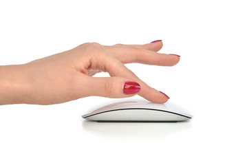Hand click on modern computer mouse