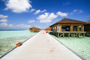 View of vilamendhoo island at the water bungalows side in the Indian Ocean Maldives