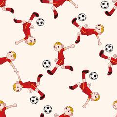 Sport soccer player , cartoon seamless pattern background