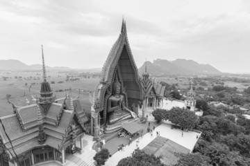 Wat tham sua in Kanchanaburi Thailand, Black and White