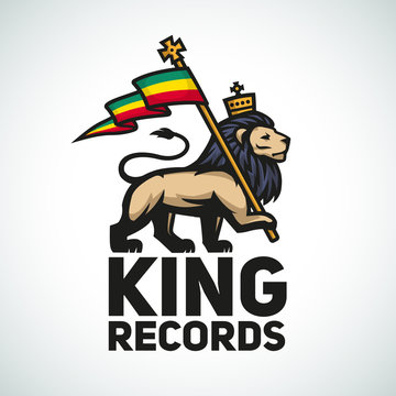 Judah lion with a rastafari flag. King of Zion logo illustration