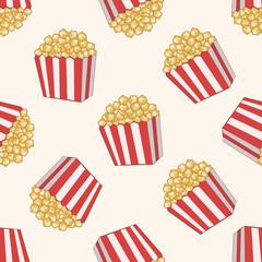 pop corn , cartoon seamless pattern background