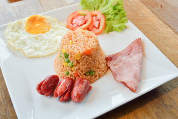 Fried rice with mixed vegetables and Cashew nuts, serve with ham