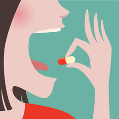 Woman take a pill in to her mouth