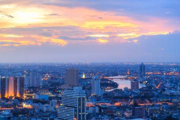 Bangkok city night view with sunset sky