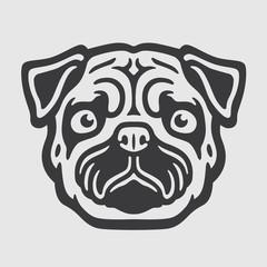 Mops Head Logo Mascot Emblem