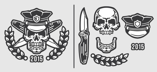 Skull Policeman Head in Cap with Crossed Knives Logo Emblem